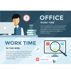 Clerk in office infographic Work time loupe and vector