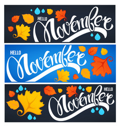 Collection of hello november welcome season vector
