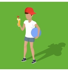 Concept Picnic Boy with Ball and Juice vector image
