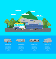 Country traveling poster with camping trailer vector
