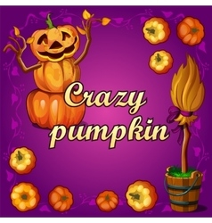 Crazy pumpkin and other witchcraft vector image