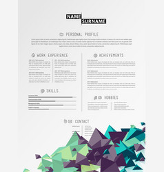 Creative simple cv template with triangle shapes vector
