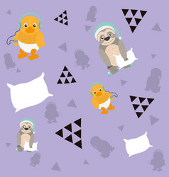 cute animals pattern background vector image