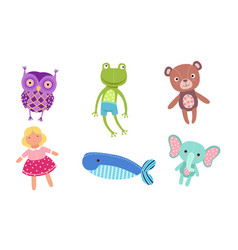 Cute toy animals collection owl frog bear doll vector