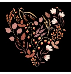 dark autumn floral card fall autumn leaves vector image