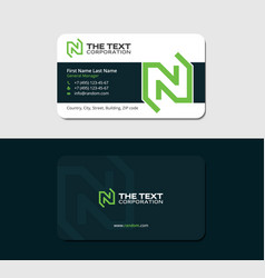 Dark business card with green letter n vector