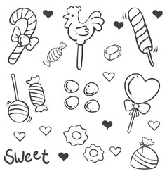 Doodle of candy various sketch collection vector
