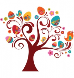 Easter eggs on tree vector image