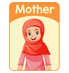 Educational english word card mother vector