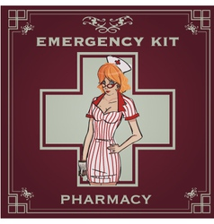 Emergency kit poster vector