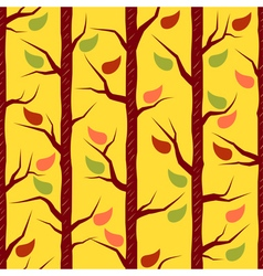 Fall trees with colorful leaves vector