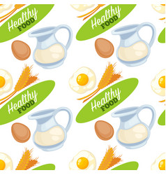 Food organic and healthy products seamless pattern vector
