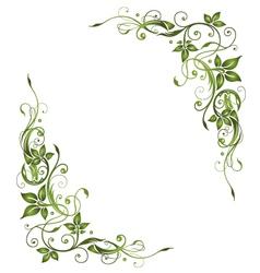 Frame green leaves vector