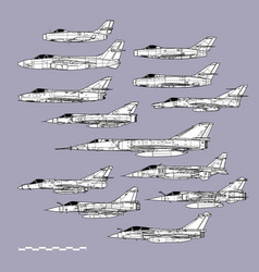 French post war combat planes vector