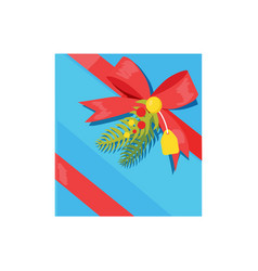 gift box with decorative red ribbons and bows pine vector image