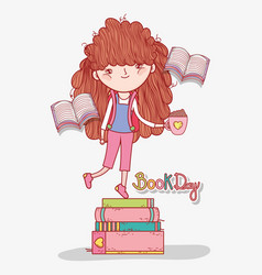 Girl read books in the literature day vector
