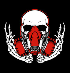 Graffiti skull with gas mask hand drawingshirt vector