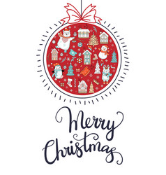 greeting card christmas card red with christmas vector image