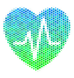 Halftone blue-green cardiology icon vector