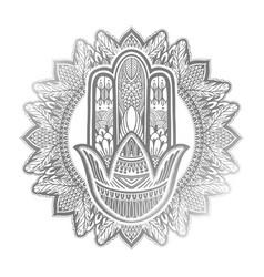 Hamsa talisman religion asian silver color vector