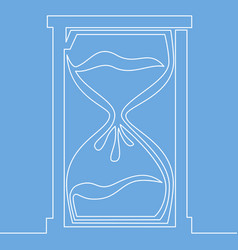 hourglass one line style deadline concept vector image