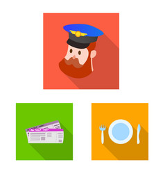 isolated object of airport and airplane icon set vector image