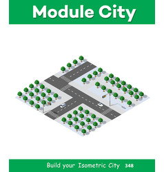 isometric 3d park with a green vector image