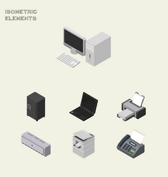 Isometric office set of printing machine computer vector