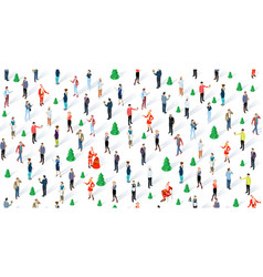 isometric seamless christmas people vector image