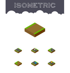 Isometric way set of footpath flat navigation vector