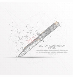 knife low poly wire frame on white background vector image