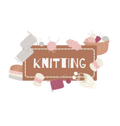 Knitting and knitwear with threads knitted scarf vector
