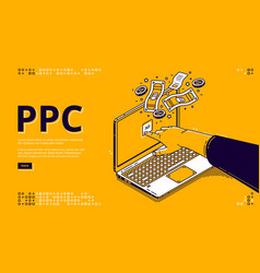 Landing page pay per click system vector