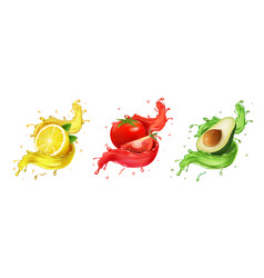 Lemon avocado tomato juice set realistic fruits vector