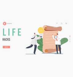 Life hacks landing page template tiny scientists vector