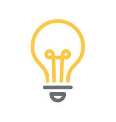 Light bulb icon line yellow and grey color vector