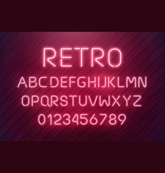 light neon font letter set bar sign type vector image