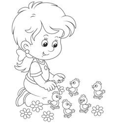 Little girl and chicks vector