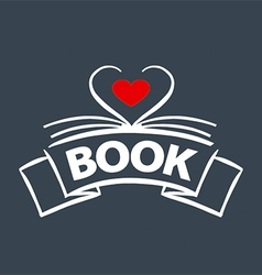 Logo book in the form of heart vector