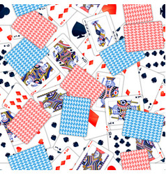 lot realistic playing cards seamless pattern vector image