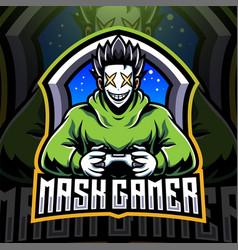 Mask gamer esport mascot logo design vector