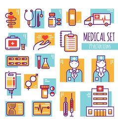 Medical Decorative Line Icons Set vector image