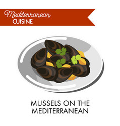 Mussels on mediterranean served on plate vector