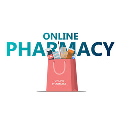 Online drugstore concept shopping bag with antibi vector