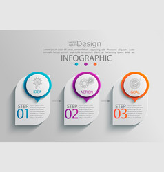 Paper infographic template with 3 options vector