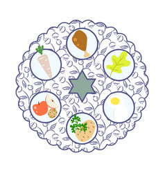 Passover seder plate with food cartoon vector