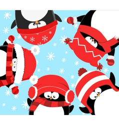 Penguins Celebrating Christmas vector image