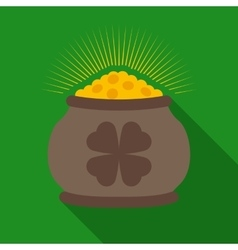 Pot of Gold with Clover Symbol vector