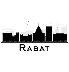 Rabat city skyline black and white silhouette vector