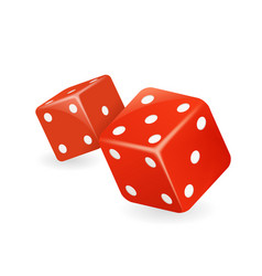 red dice 3d realistic casino gambling game design vector image